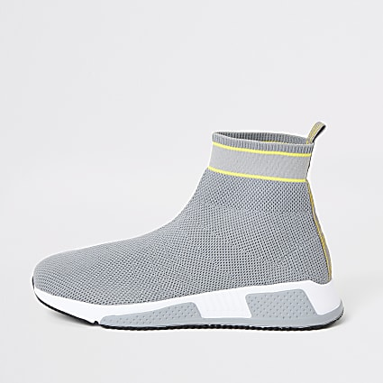Prolific grey knitted high top sock trainers