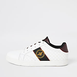 RI– Weiße Sneaker zum Schnüren mit aufgestickter Wespe