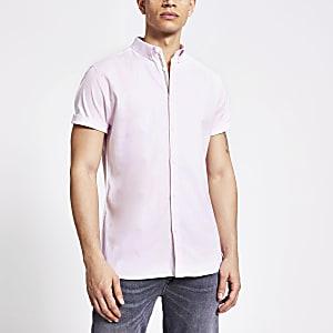 Lichtroze slim-fit Oxford overhemd