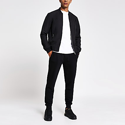 Black zip front bomber jacket