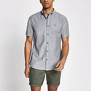 Maison Riviera – Graues, kurzärmeliges Hemd