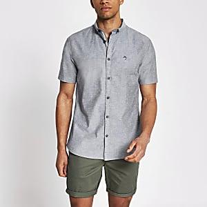 Maison Riviera - Grijs overhemd met korte mouwen
