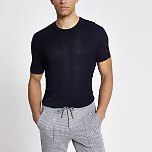 Maison Riviera –T-shirt slim en maille bleu marine