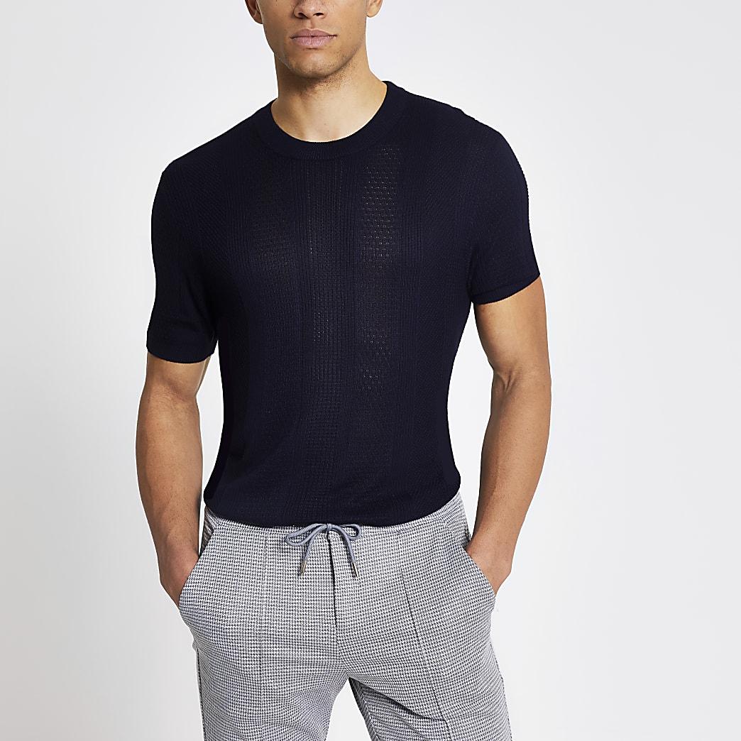 Maison Riviera - Marineblauw geruit gebreid slim-fit T-shirt