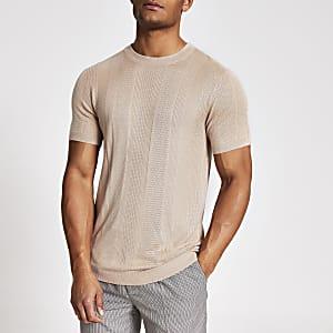 Maison Riviera– T-shirt en maille slim rose