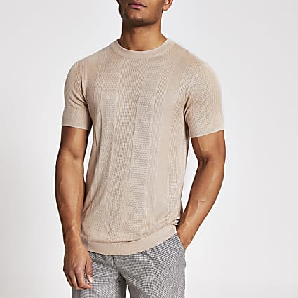 Masion Riviera pink slim fit knitted T-shirt