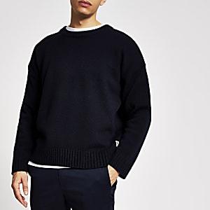 Marineblauwe gebreide oversized trui met lange mouwen