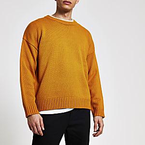 Mosterdgele oversized gebreide trui met lange mouwen