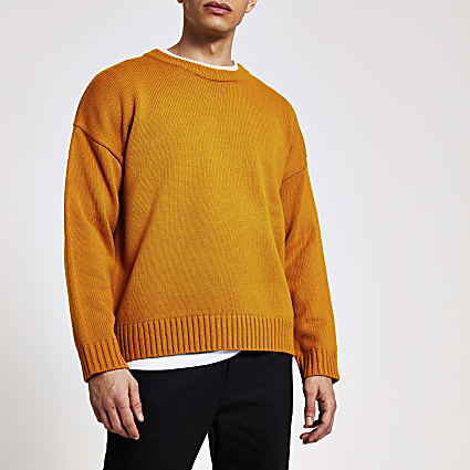 Yellow long sleeve oversized knitted jumper