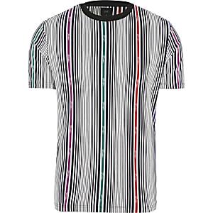 Prolific – Weiß gestreiftes T-Shirt im Slim-Fit