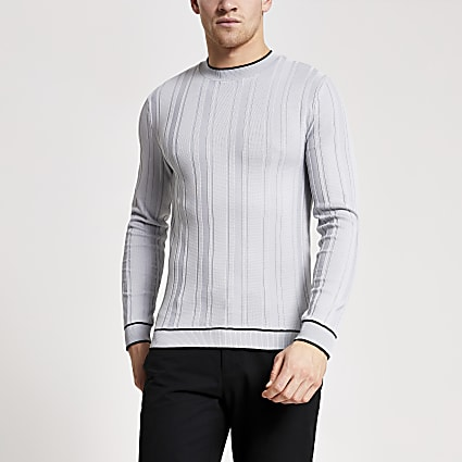Grey tipping muscle fit rib knitted top
