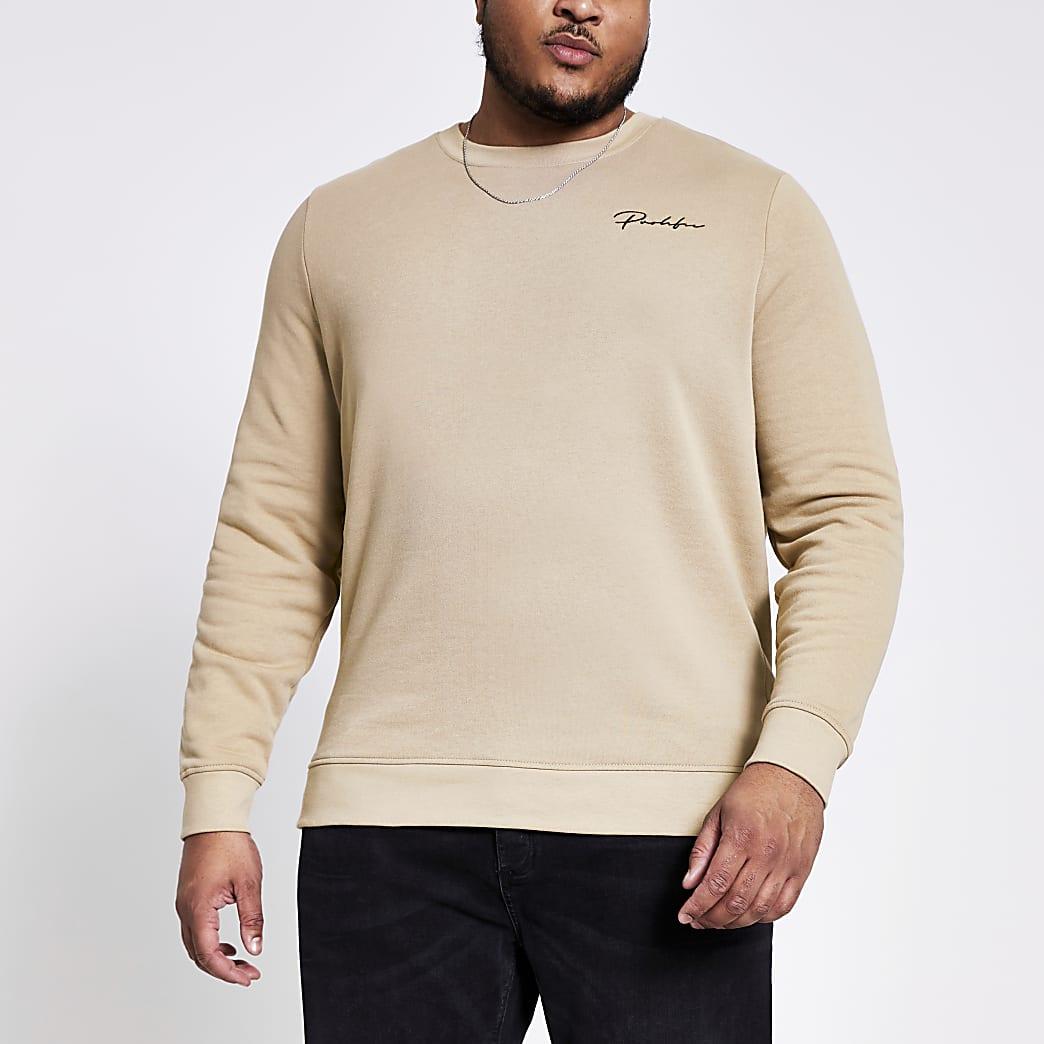 Big and Tall- Kiezelkleurige slim-fit sweater met Prolific-print