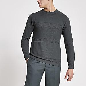 Maison Riviera - Groene gebreide slim-fit trui