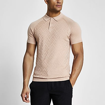 Pink textured slim fit knitted polo shirt