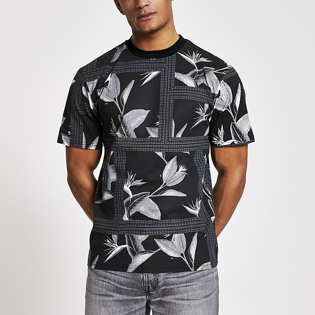 Maison Riviera black print oversized T-shirt