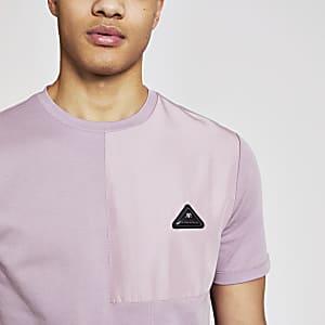 MCMLX - Paars contrasterend slim-fit T-shirt met embleem