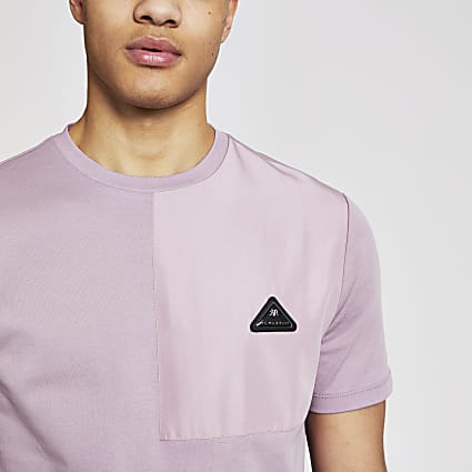 MCMLX purple contrast badge slim fit T-shirt