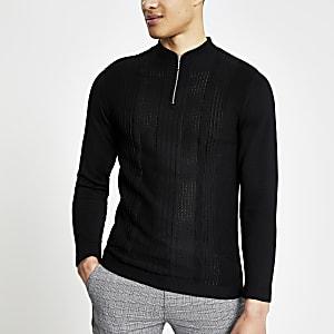 Schwarzes Strick-Poloshirt im Muscle Fit mit kurzem Reißverschluss