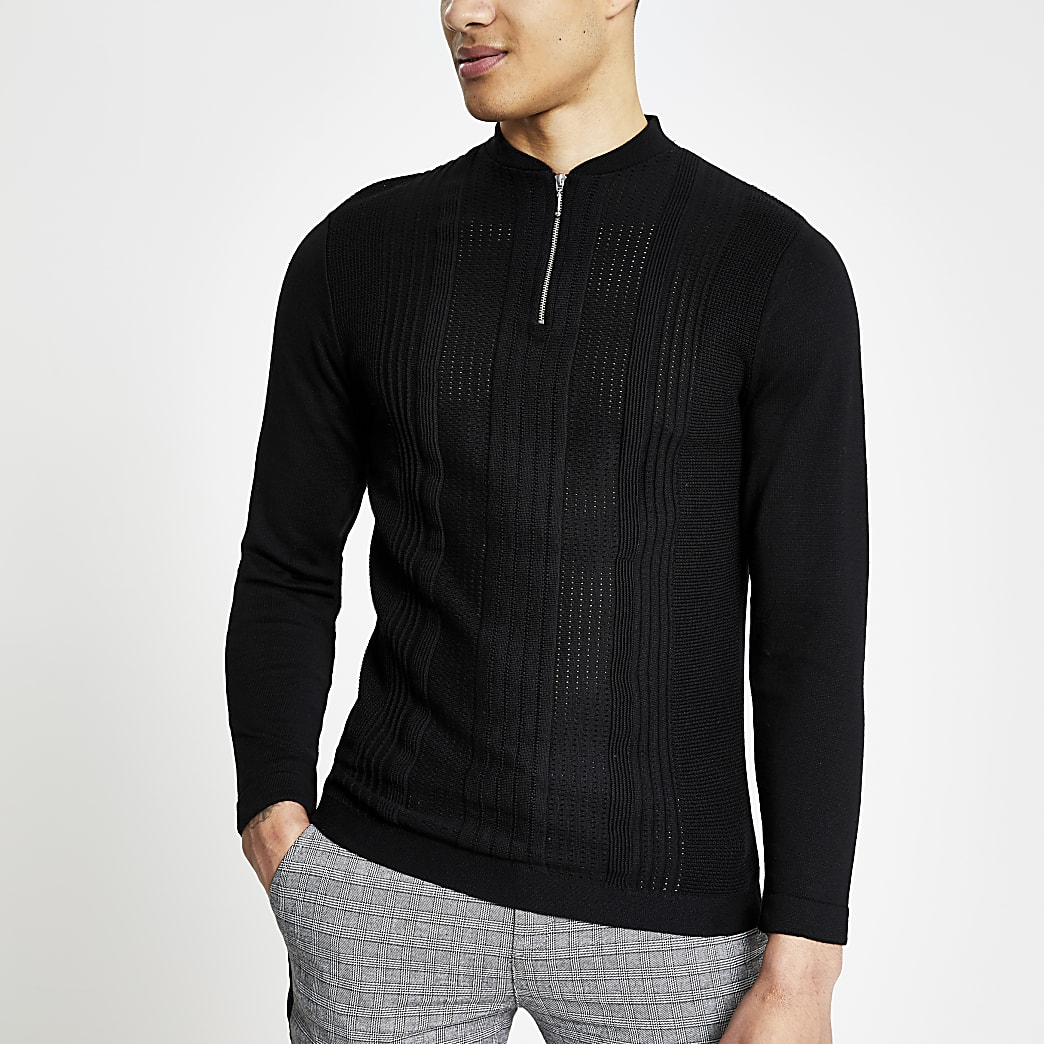 Black muscle fit half zip knitted polo shirt