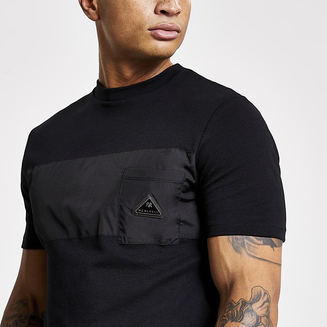 MCMLX black nylon blocked slim fit T-shirt