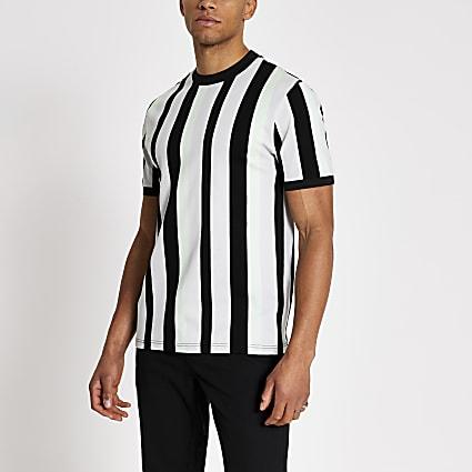 Green colour block stripe slim fit T-shirt