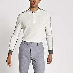 Ecrufarbenes Strick-Poloshirt mit kurzem Reißverschluss in Blockfarben