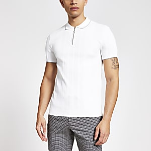 White muscle fit half zip knitted polo shirt