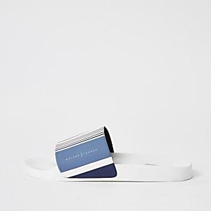 MaisonLondon- Blauwe gestreepte slippers