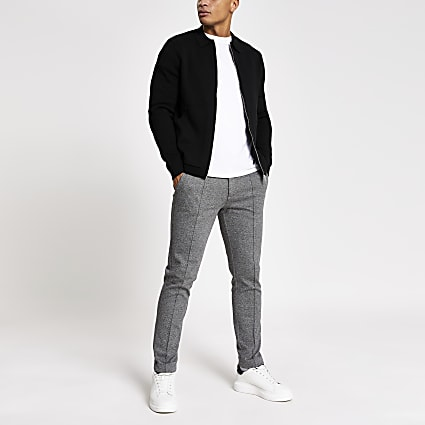 Black zip through knitted shacket