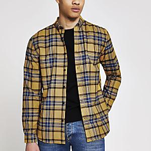 Geel geruit regular-fit overhemd met lange mouwen