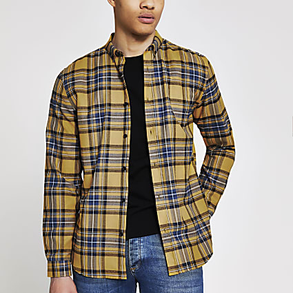 Yellow check long sleeve regular fit shirt