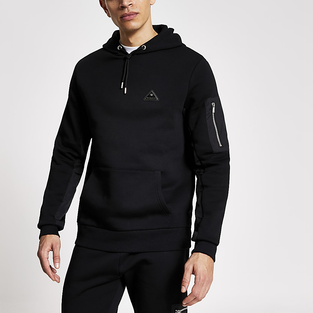 MCMLX black nylon panel slim fit hoodie