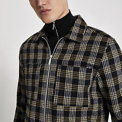 Black check regular fit zip overshirt