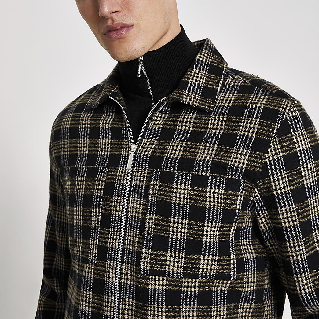 Schwarz kariertes Regular Fit Überhemd mit Reißverschluss