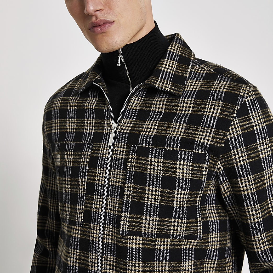 Zwart geruit regular fit overshirt met ritssluiting
