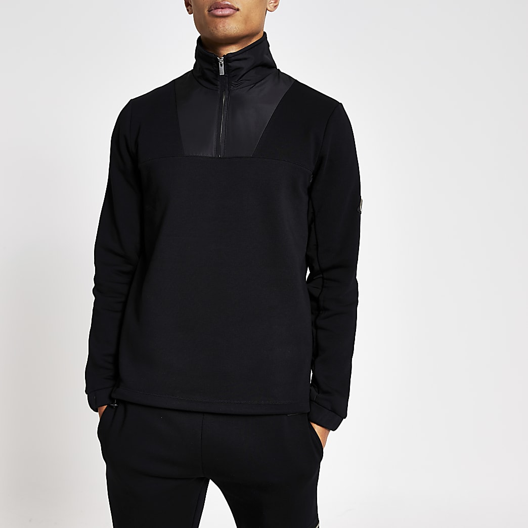 MCMLX black funnel neck slim fit sweatshirt
