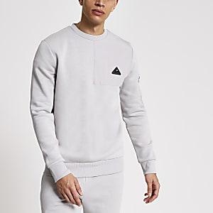 MCMLX – Graues Slim Fit Sweatshirt mit Nylonfeld