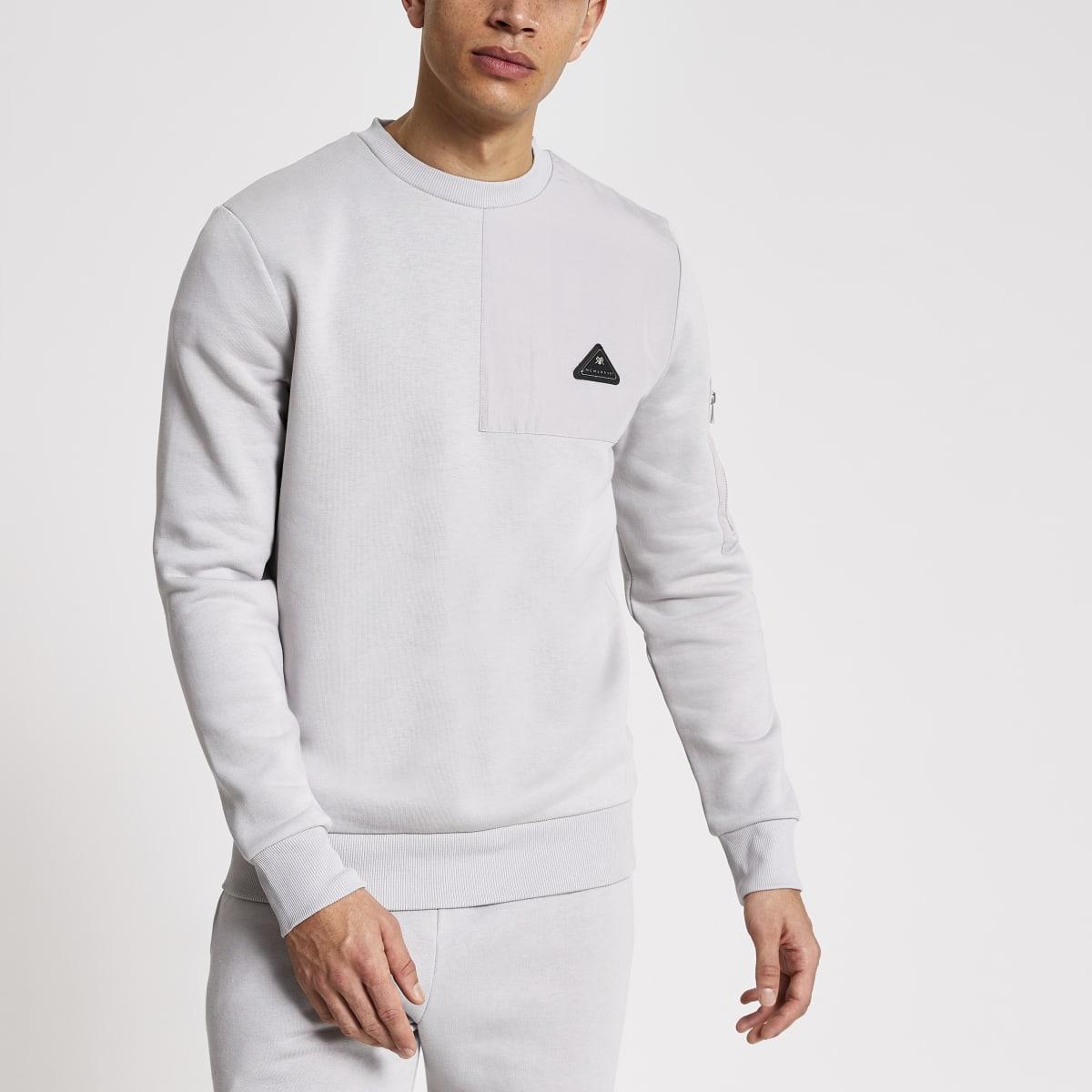 MCMLX grey nylon panel slim fit sweatshirt
