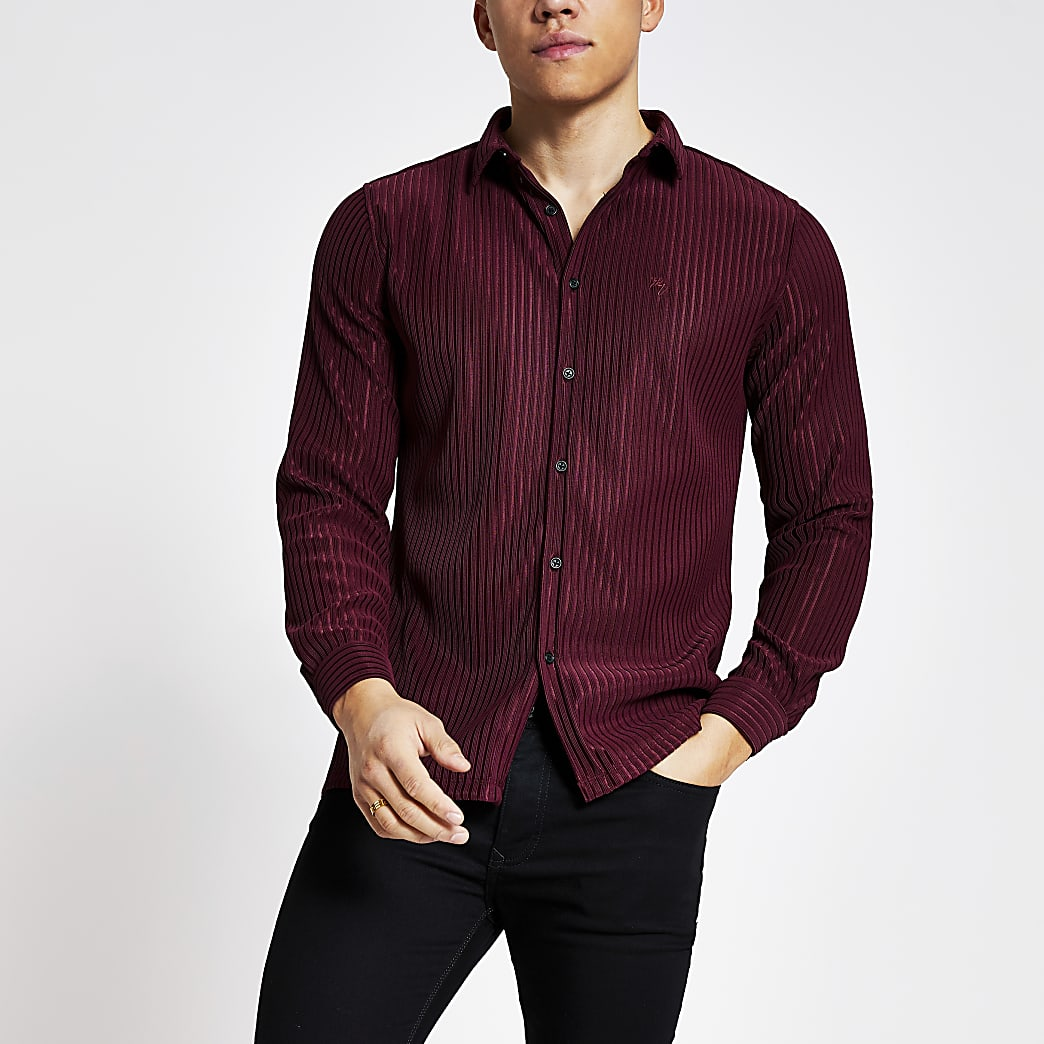 Donkerrood geribbeld slim-fit trui-overhemd