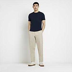 Marineblauw muscle fit T-shirt met korte mouwen