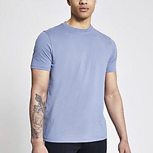 Blauw slim-fitT-shirt met korte mouwen