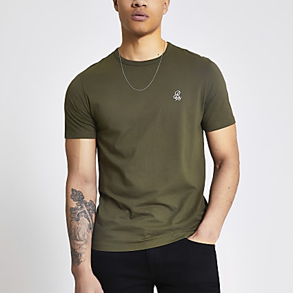 R96 khaki slim fit T-shirt