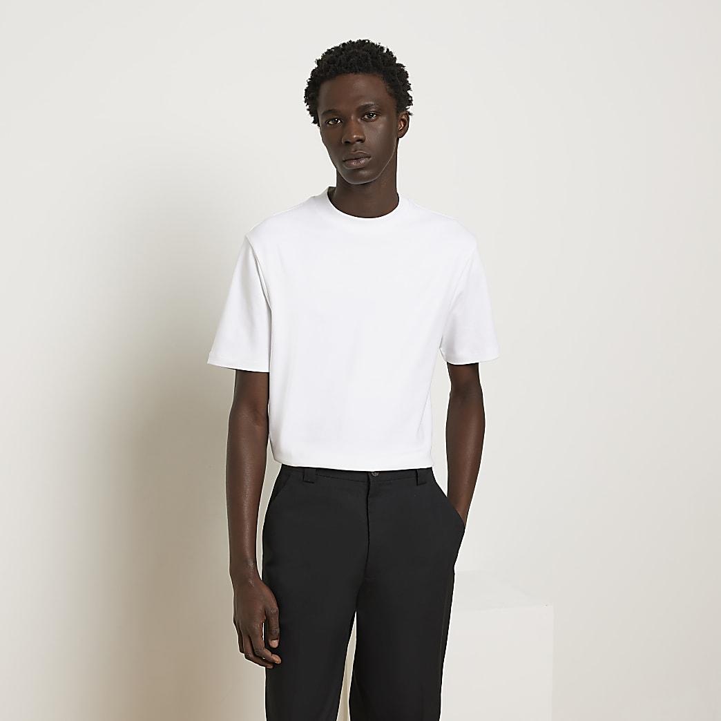 Zwart slim-fit T-shirt met kleurvlakken en 'Paris'-tekst