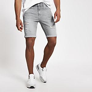 Sid – Shorts skinny en denimgris déchirés