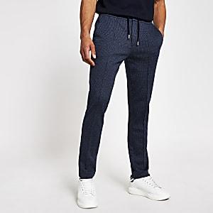Marineblauwe geruite geplooide skinny-fit joggingbroek