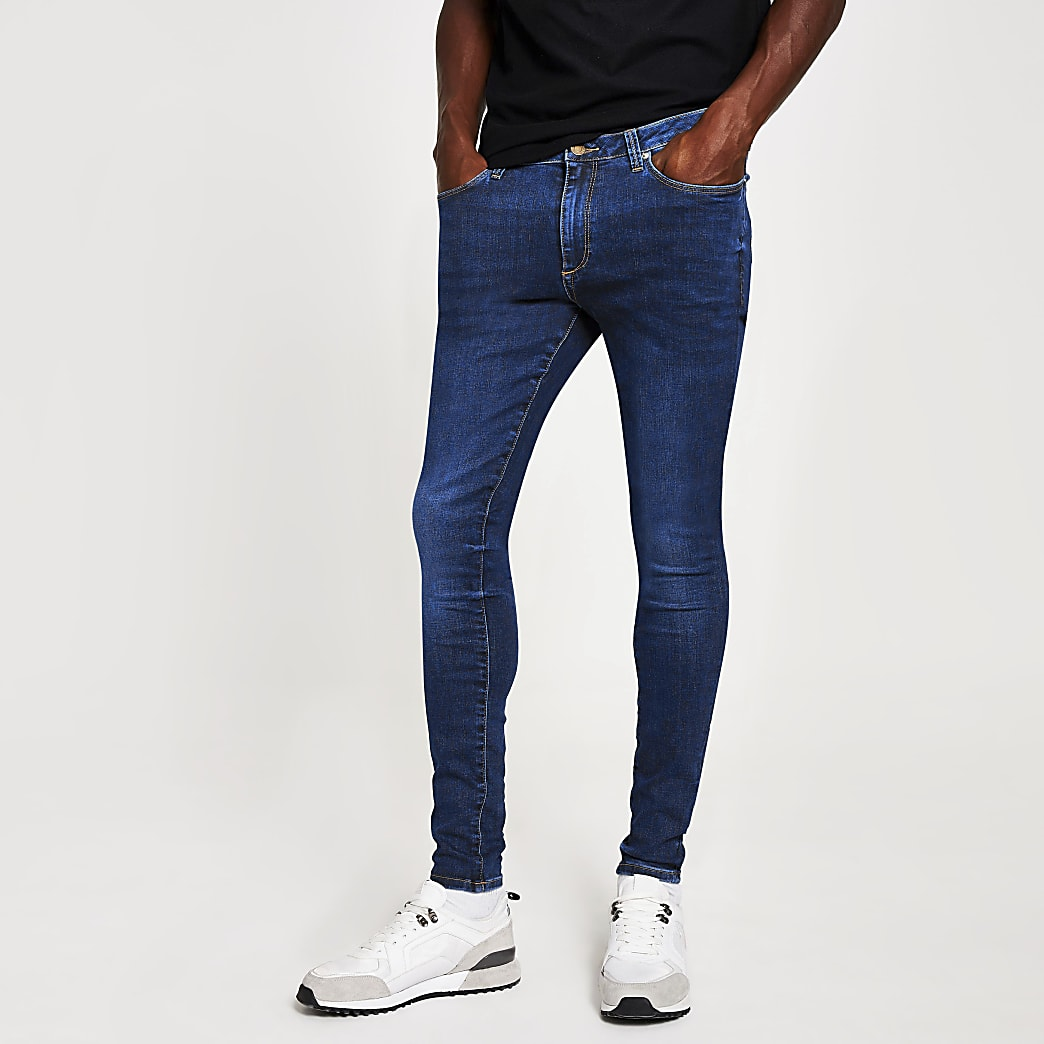 Ollie - Donkerblauwe spray-on skinny jeans