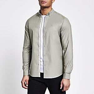Maison Riviera - Groen regular fit Oxford overhemd