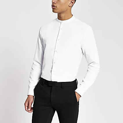 White textured grandad collar slim fit shirt