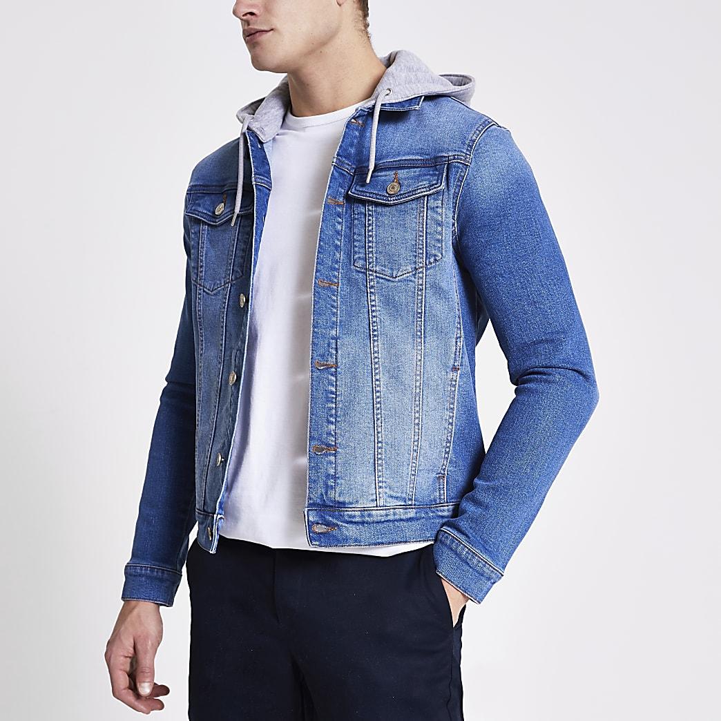 Blue muscle fit hooded denim jacket