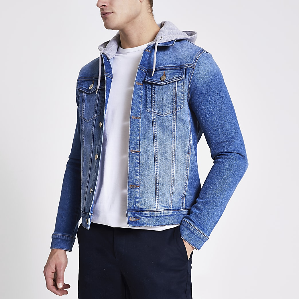 Blauw muscle-fit denim jack met capuchon